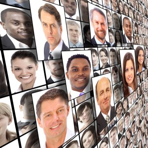 Business people faces collage